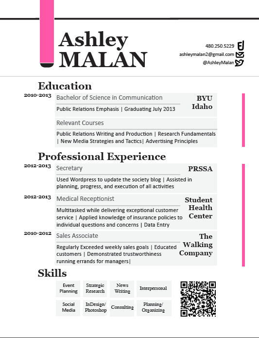 Resume - Ashley Malan Portfolio